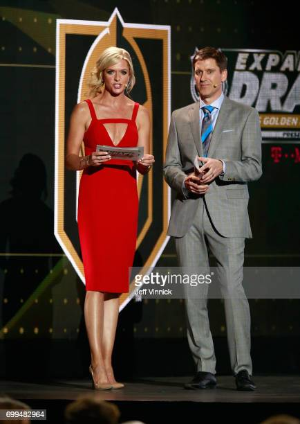 Hosts Kathryn Tappen and Daren Millard speak onstage during the 2017 NHL Awards & Expansion Draft at T-Mobile Arena on June 21, 2017 in Las Vegas,...