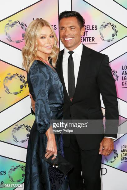 Hosts Kelly Ripa and Mark Consuelos arrive at the Los Angeles LGBT Center's 49th Anniversary Gala Vanguard Awards at The Beverly Hilton Hotel on...