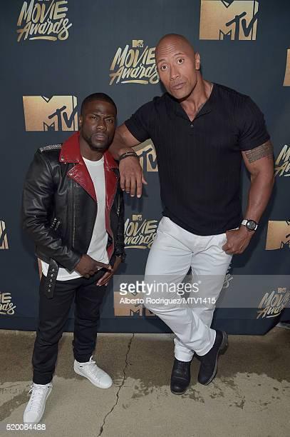 Hosts Kevin Hart and Dwayne Johnson attend the 2016 MTV Movie Awards at Warner Bros Studios on April 9 2016 in Burbank California MTV Movie Awards...