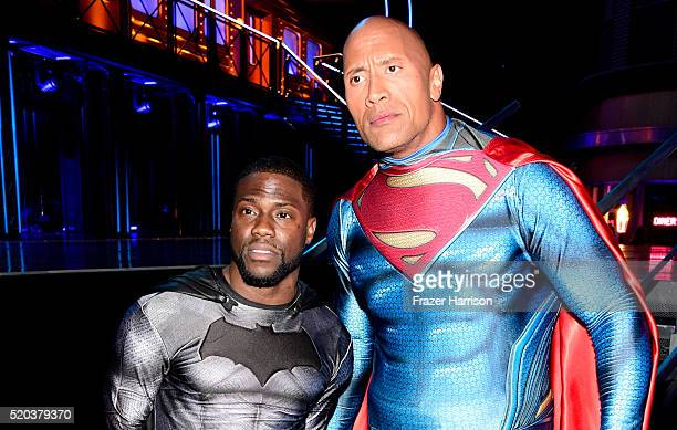 Hosts Kevin Hart and Dwayne Johnson pose backstage during the 2016 MTV Movie Awards at Warner Bros Studios on April 9 2016 in Burbank California MTV...