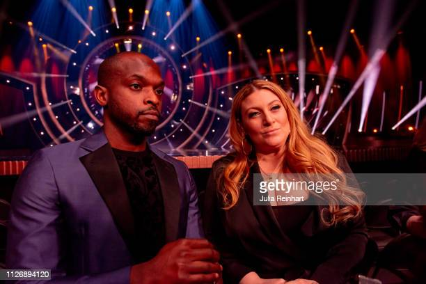 Hosts Kodjo Akolor and Sarah Dawn Finder meet the press ahead of the first heat of Melodifestivalen Sweden's competition to select the country's...