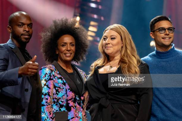 Hosts Kodjo Akolor Marika Carlsson Sarah Dawn Finder and Eric Saade meet the press ahead of the first heat of Melodifestivalen Sweden's competition...