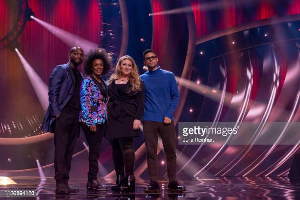 Hosts Kodjo Akolor Marika Carlsson Sarah Dawn Finer and Eric Saade are presented to the press ahead of the first heat of Melodifestivalen Sweden's...