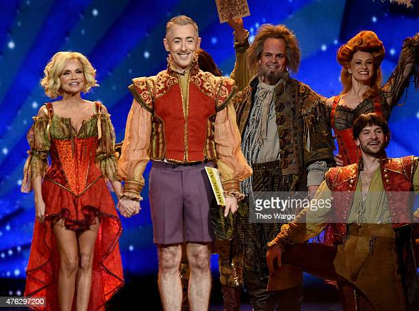 Hosts Kristin Chenoweth and Alan Cumming perform with the cast of Something Rotten onstage at the 2015 Tony Awards at Radio City Music Hall on June 7...