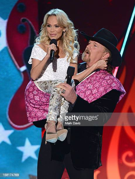 Hosts Kristin Chenoweth and Trace Adkins speak onstage during the 2012 American Country Awards at the Mandalay Bay Events Center on December 10 2012...