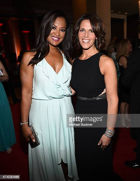 Hosts Laila Ali and Dana Jacobson attends the 40th Anniversary Gracies Awards at The Beverly Hilton Hotel on May 19 2015 in Beverly Hills California