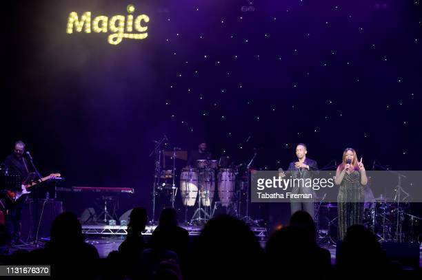 Hosts Lemar and Angie Greaves on stage during Magic Soul Live at Eventim Apollo, Hammersmith on February 23, 2019 in London, England.