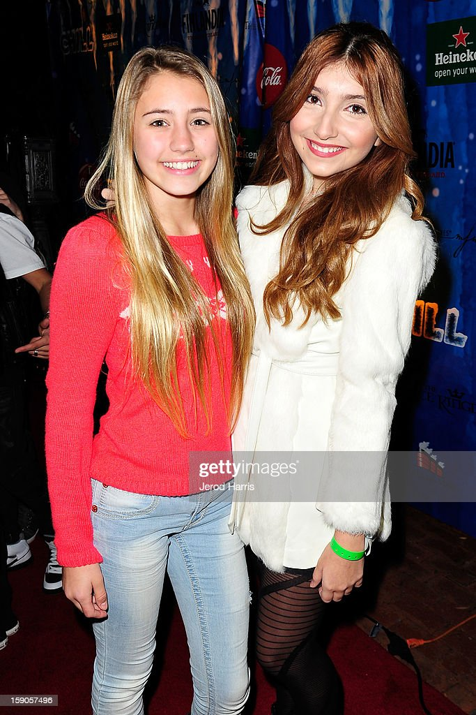 Hosts Lia Marie Johnson and Jennessa Rose arrive at the CHILL-OUT closing night concert at The Queen Mary on January 6, 2013 in Long Beach, California.