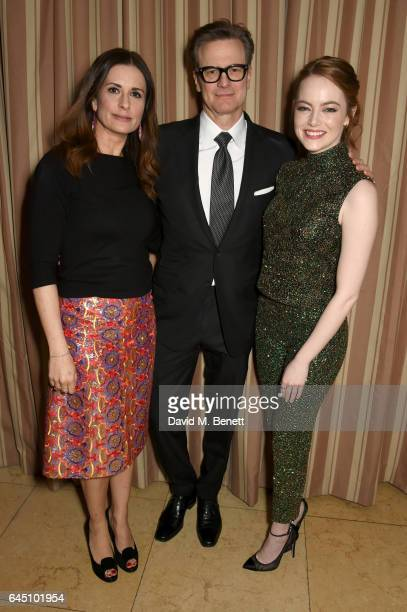 Hosts Livia Firth Colin Firth and actress Emma Stone attend a dinner to celebrate The GCC and The Journey To Sustainable Luxury on February 24 2017...
