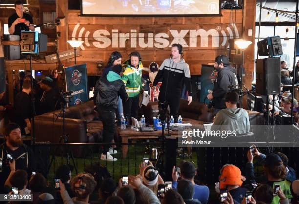Hosts Liz Gonzales Dave Portnoy Kevin KFC Clancy and Kevin Hart attend Kevin Hart Live on Barstool Radio on SiriusXM at Super Bowl LII on February 2...
