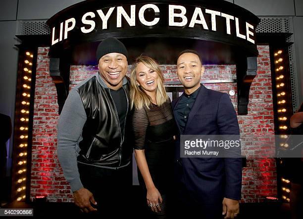 Hosts LL Cool J Chrissy Teigen and recording artist John Legend attend the FYC Event Spike's 'Lip Sync Battle' at Saban Media Center on June 14 2016...