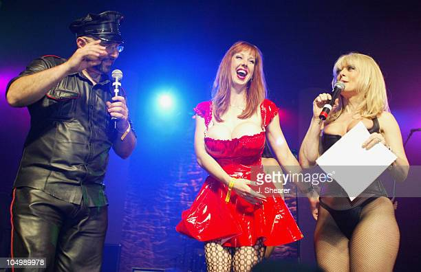 Hosts Lord Martine and Nina Hartley with one of the Century Dancers at the Exotic Erotic Ball