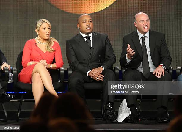 Hosts Lori Greiner Daymond John and Kevin O'Leary of Shark Tank speak onstage during the ABC portion of the 2013 Winter TCA Tour at Langham Hotel on...