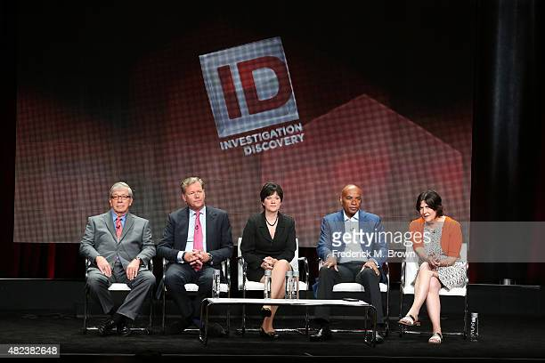 Hosts Lt. Joe Kenda, Chris Hansen, Candice DeLong, Tony Harris and Senior Vice President of Production for Sara Kozak speak onstage during the 'A New...