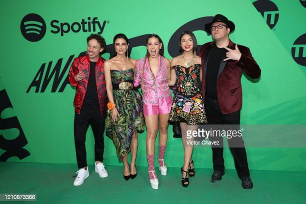Hosts Luisito Comunica Aislinn Derbez Danna Paola Ángela Aguilar and Franco Escamilla attend the 2020 Spotify Awards at the Auditorio Nacional on...
