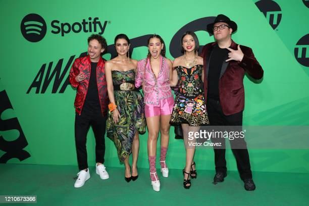 Hosts Luisito Comunica Aislinn Derbez Danna Paola Ángela Aguilar and Franco Escamilla attend the 2020 Spotify Awards at the Auditorio Nacional on...