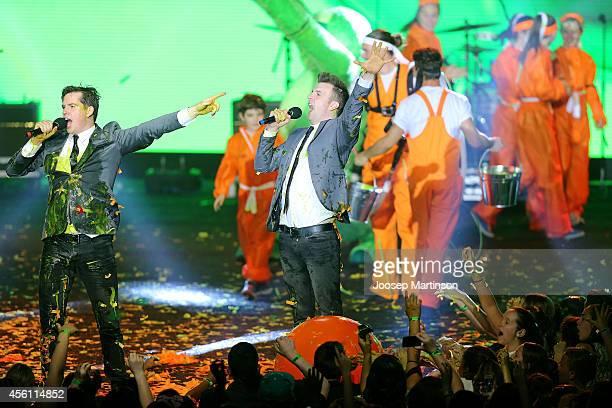 Hosts Luke Ryan and Wyatt NixonLloyd perform during the Nickelodeon Slimefest 2014 matinee show at Sydney Olympic Park Sports Centre on September 26...