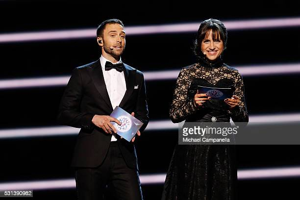 Hosts Mans Zelmerlow and Petra Mede are seen at the Ericsson Globe on May 14 2016 in Stockholm Sweden