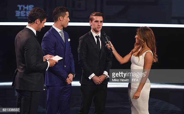 Hosts Marco Schreyl and Eva Longoria and The Best FIFA Men's Player nominees Cristiano Ronaldo of Portugal and Real Madrid and Antoine Griezmann of...