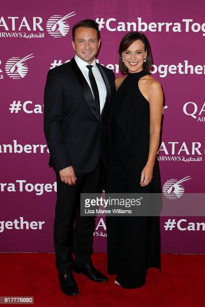 Host's Matt Doran and Natasha Belling arrive at the Qatar Airways Canberra Launch gala dinner on February 13 2018 in Canberra Australia