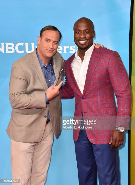 TV hosts Matt Iseman and Akbar Gbajabiamila attend NBCUniversal's Summer Press Day 2018 at The Universal Studios Backlot on May 2 2018 in Universal...