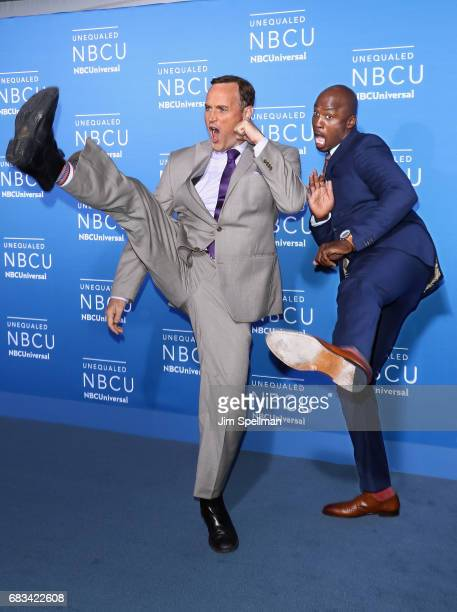TV hosts Matt Iseman and Akbar Gbajabiamila attend the 2017 NBCUniversal Upfront at Radio City Music Hall on May 15 2017 in New York City