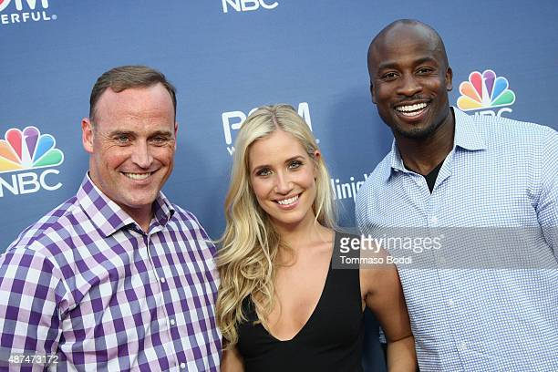 Hosts Matt Iseman Kristine Leahy and Akbar Gbajabiamila attend the NBC's 'American Ninja Warrior' season 7 finale preview screening held at The Autry...