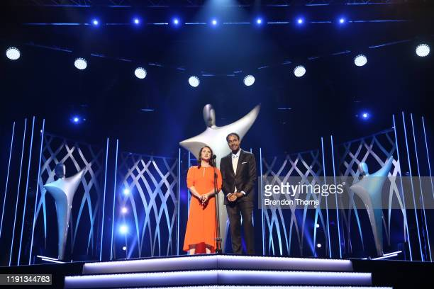 Hosts Mel Buttel and Matt Okine during the 2019 AACTA Awards Presented by Foxtel | Industry Luncheon at The Star on December 02 2019 in Sydney...