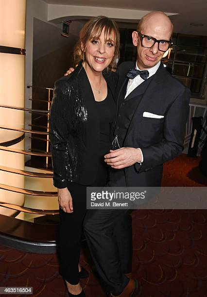 Hosts Mel Giedroyc and Steve Furst pose in the press room at the WhatsOnStage Awards at The Prince of Wales Theatre on February 15 2015 in London...