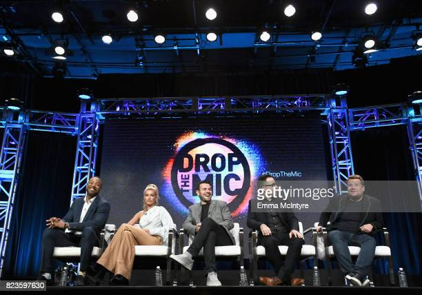 Hosts Method Man Hailey Baldwin executive producers Ben Winston Jensen Karp and James Corden of 'Drop The Mic' speak onstage during the TCA Turner...