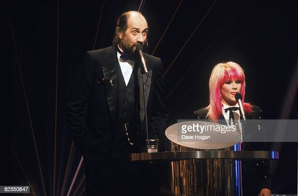Hosts Mick Fleetwood and Samantha Fox at the BRIT Awards ceremony at the Royal Albert Hall London 18th February 1989