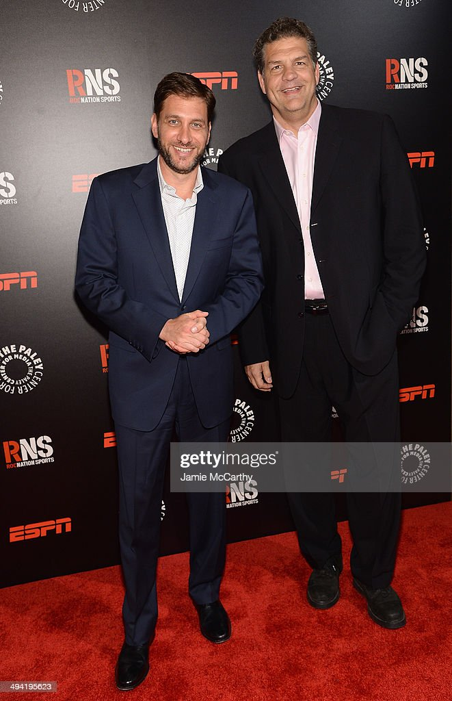 ESPN hosts Mike Greenberg (L) and Mike Golic attend the Paley Prize Gala honoring ESPN's 35th anniversary presented by Roc Nation Sports on May 28, 2014 in New York City.