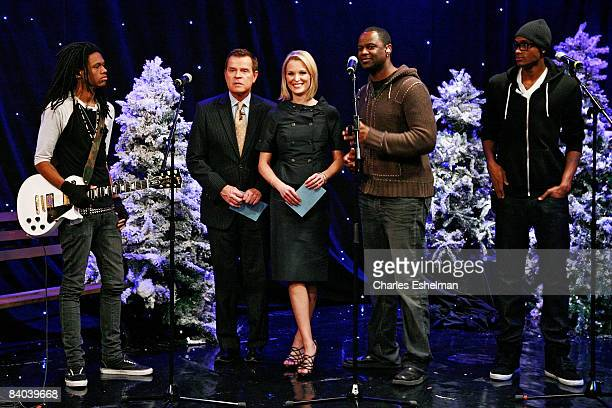 Hosts Mike Jerrick and Juliet Huddy introduce musicians Brian McKnight and sons Niko and Brian Jr at FOX's The Morning Show with Mike and Juliet at...