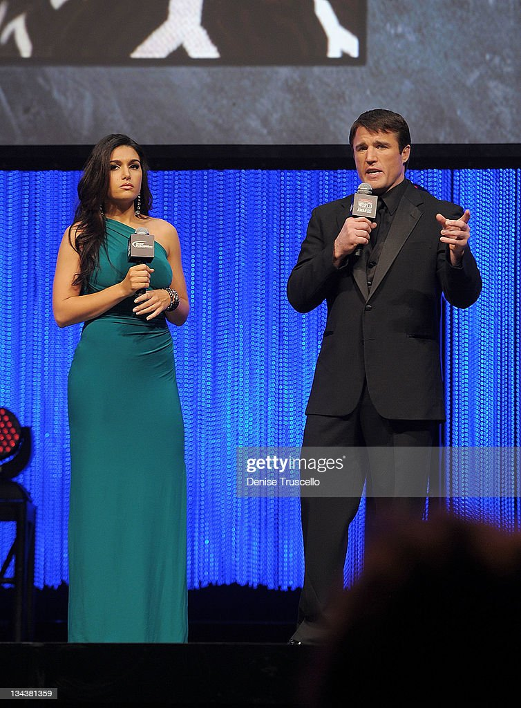 Hosts Molly Qerim and Chael Sonnen of the 2011 Fighters Only World Mixed Martial Arts Awards at the Palms Casino Resort on November 30, 2011 in Las Vegas, Nevada.