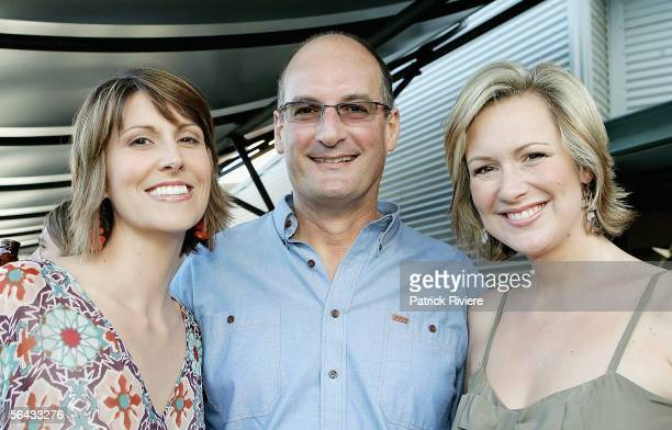 TV Hosts Natalie Barr David Koch and Melissa Doyle attend the Channel 7 Cocktail Party in Pyrmont on December 14 2005 in Sydney Australia