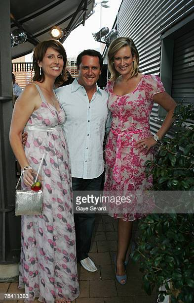 TV hosts Natalie Barr Larry Emdur and Melissa Doyle attend the Channel 7 Christmas drinks party at the studio premises in Pyrmont on December 12 2007...