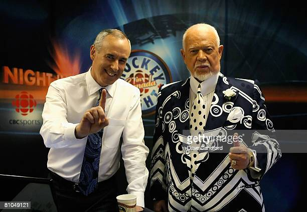 Host's of Hockey Night in Canada Ron Maclean and Don Cherry pose in the studio before game two of the Western Conference Finals of the 2008 NHL...