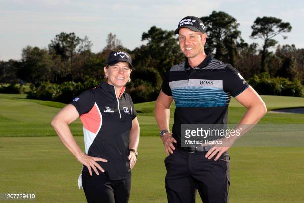 Hosts of Scandinavian Mixed tournament, Henrik Stenson and Annika Sorenstam pose for portraits during a photocall on January 08, 2020 in Orlando,...