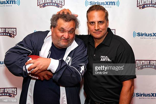 Hosts of The Nick Artie Show Artie Lange and Nick DiPaolo attend Sirius XM Annual Celebrity Fantasy Football Draft at Hard Rock Cafe New York on July...