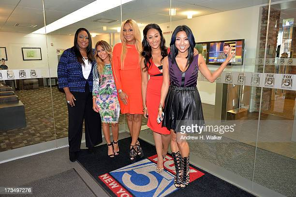 Hosts of The Real Loni Love Adrienne BailonTamar Braxton Tamera MowryHousley and Jeannie Mai visit NYC on July 15 2013 in New York City The Real...