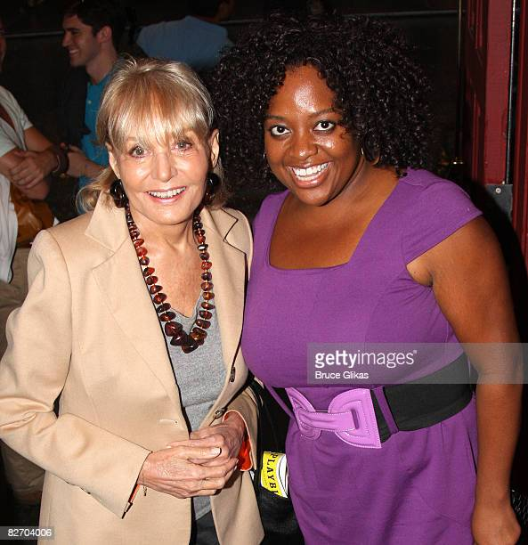 Hosts of The View Barbara Walters and Sherri Shepherd pose backstage at Xanadu on Broadway at The Helen Hayes Theater on September 6 2008 in New York...