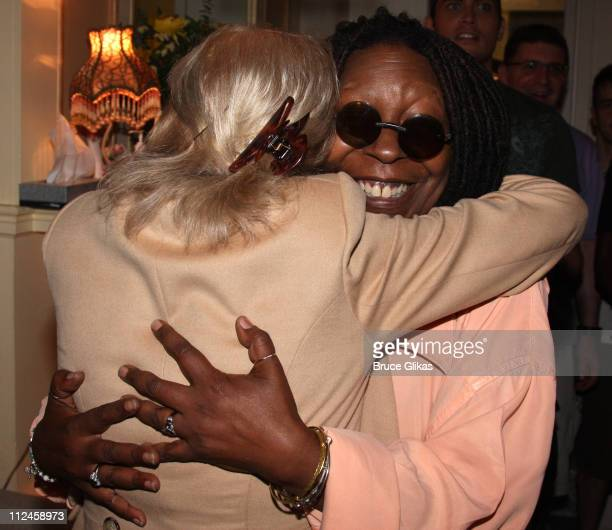 Hosts of The View Barbara Walters poses with Whoopi Goldberg at her backstage after her performance in Xanadu on Broadway at The Helen Hayes Theater...
