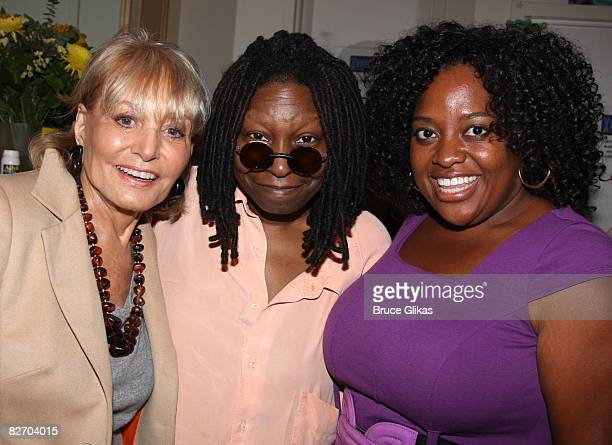 Hosts of The View Barbara Walters Sherri Shepherd pose with Whoopi Goldberg at her backstage after her performance in Xanadu on Broadway at The Helen...
