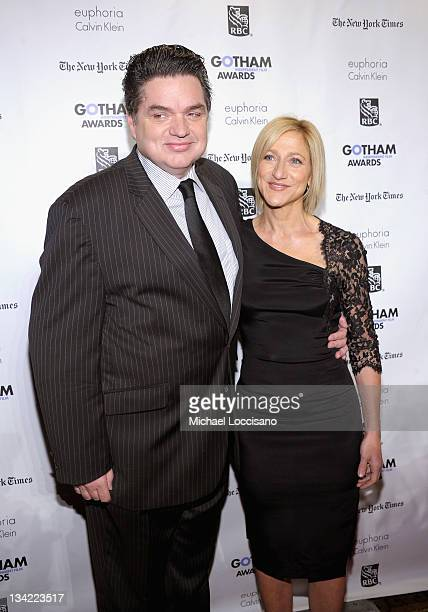 Hosts Oliver Platt and Edie Falco attend the IFP's 21st Annual Gotham Independent Film Awards at Cipriani Wall Street on November 28, 2011 in New...