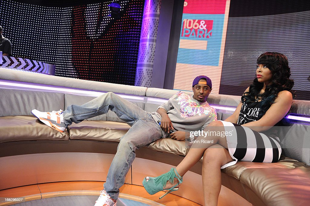 Hosts Paigion and Shorty Da Prince at BET's '106 & Park' at BET Studios on May 6, 2013 in New York City.