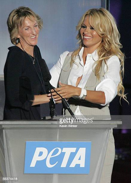 Hosts Pamela Anderson presents a special award to Ingrid Newkirk, co-founder and current president of PETA during PETA?s 15th Anniversary Gala and...