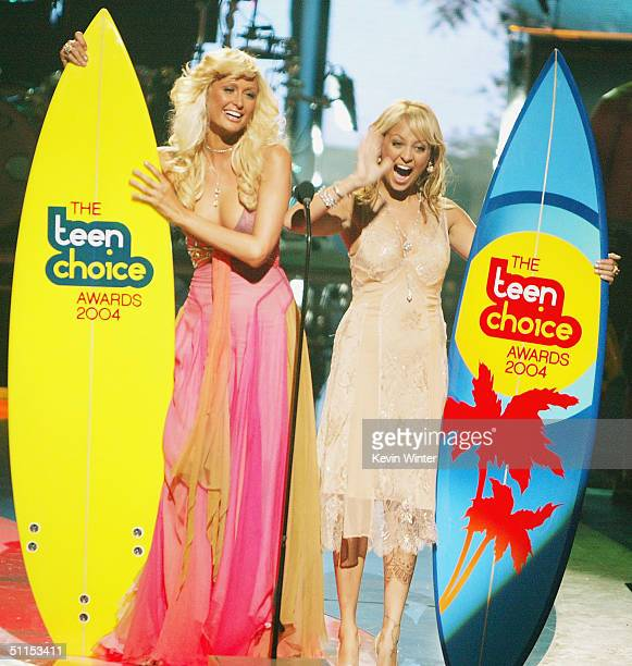 Hosts Paris Hilton and Nicole Richie speak on stage at The 2004 Teen Choice Awards held at Universal Amphitheater on August 8 2004 in Universal City...