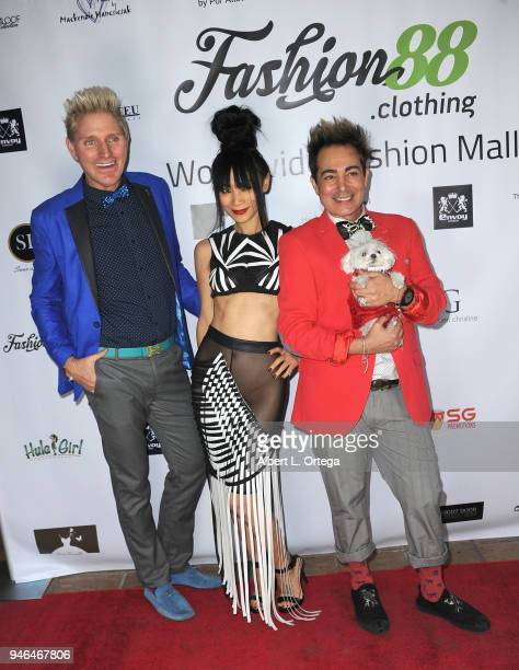 Hosts Patrik Simpson and Pol' Atteu with actress Bai Ling arrive for the Global Launch Of Fashion88 held at Pol' Atteu Haute Couture on April 14 2018...