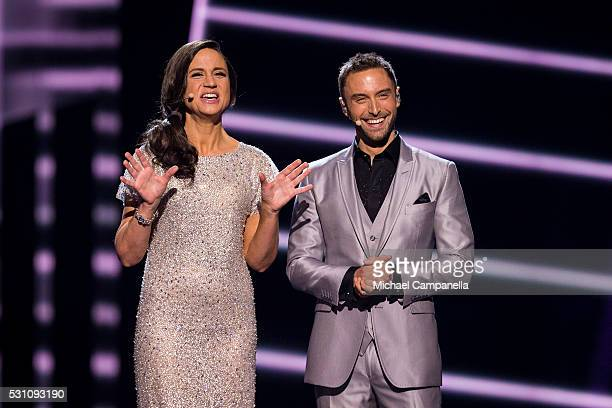 Hosts Petra Mede and Mans Zelmerlow during the semifinals of the 2016 Eurovision Song Contest at Ericsson Globe Arena on May 12 2016 in Stockholm...