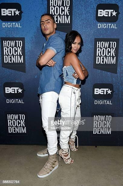 Hosts Quincy Combs and Karrueche Tran attend the BET How To Rock Denim at Milk Studios on August 10 2016 in New York City